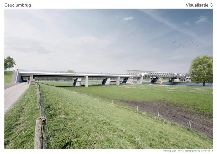 Zo gaat de fietsbrug tussen Cuijk en Mook er uitzien.