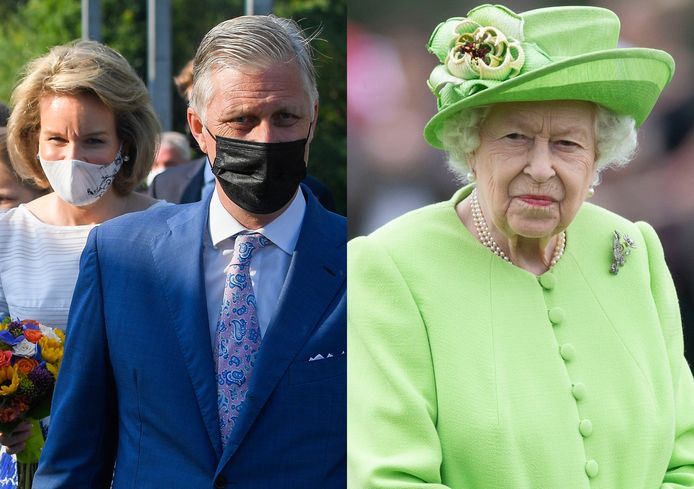 Koning Filip en Mathilde en de Britse Queen.