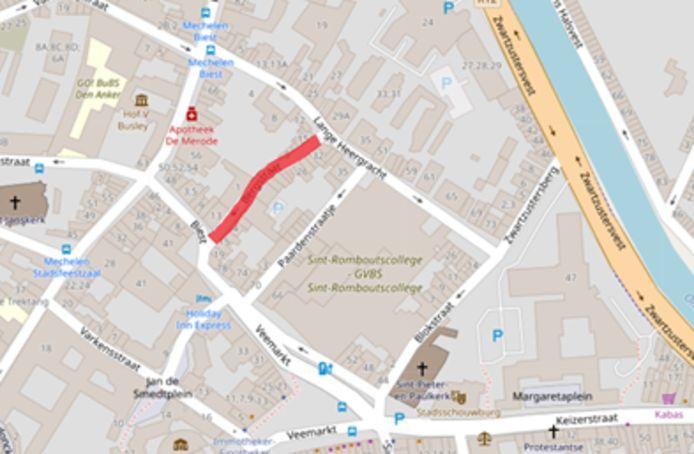 Kaart van Mechelen met schoolstraat Bergstraat.