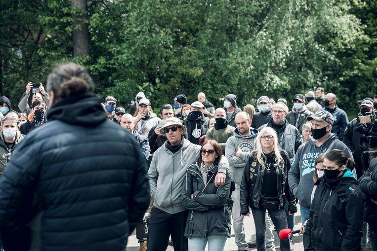 Mars voor Jürgen Conings in het natuurpark te Maasmechelen. Beeld Karolien Coenen
