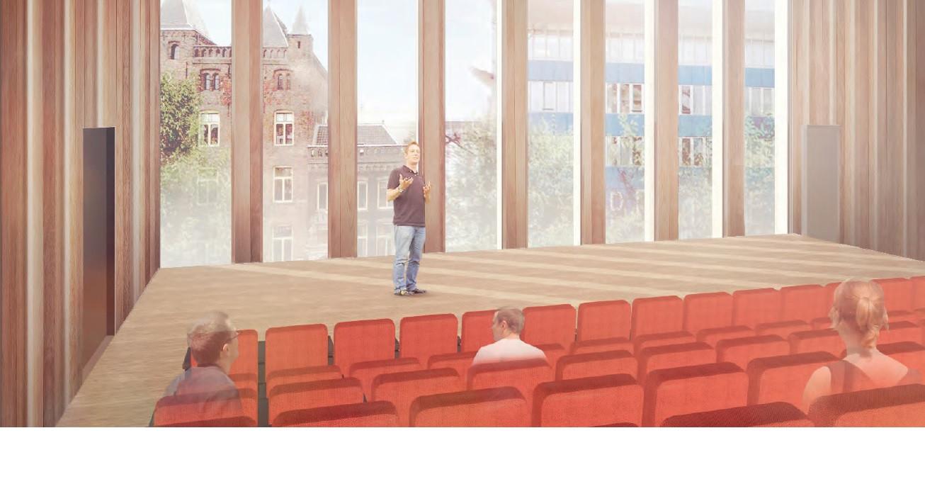 Een artist's impression van het toekomstige auditorium waar cursussen en presentaties gegeven kunnen worden.