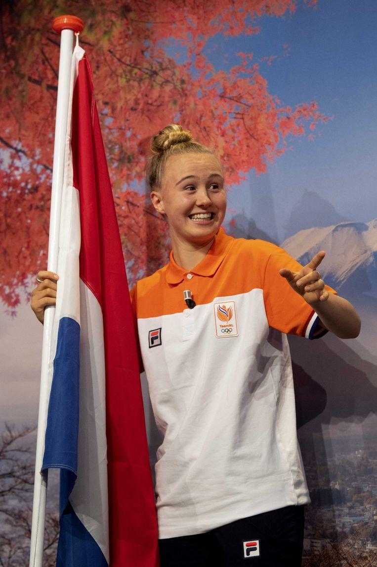 Keet Oldenbeuving in Amsterdam bij de presentatie van de vlaggendragers. Beeld ANP