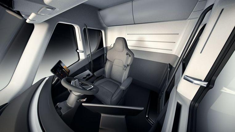 Het interieur van een Tesla Semi Truck Beeld Tesla