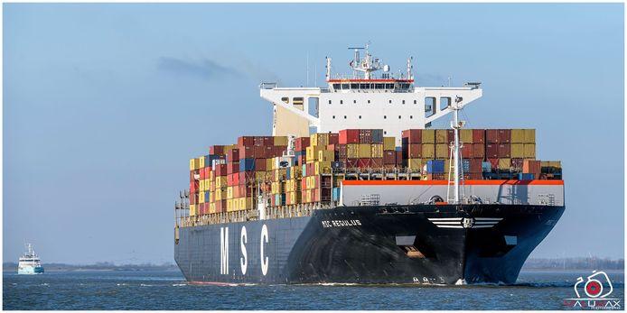 De MSC Regulus heeft dit weekend een nieuwe diepterecord opgetekend voor de haven.