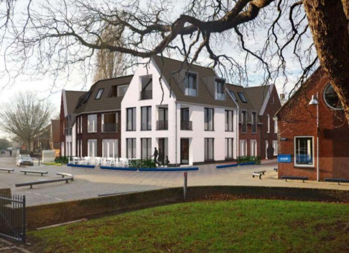 Impressie van het nieuwe appartementencomplex, gezien vanaf de straat.
