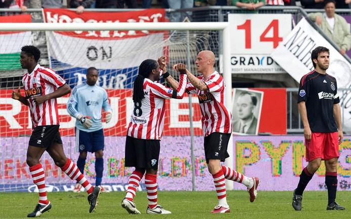 Sparta viert de treffer van Yuri Rose, de tweede van de Rotterdammers tegen Ajax. Foto: ANP