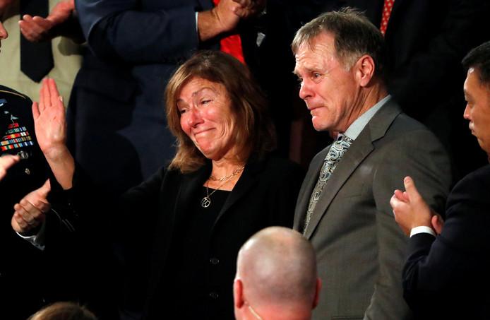De ouders van Otto Warmbier in tranen tijdens de State of the Union-speech van Trump in 2018.