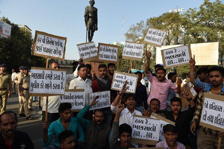 Protest tegen de film in Ahmedabad. Beeld afp