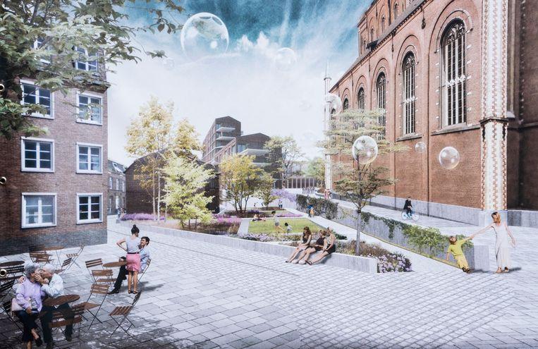 Toekomstbeelden van de nieuwe open ruimte naast de kerk in Wetteren.