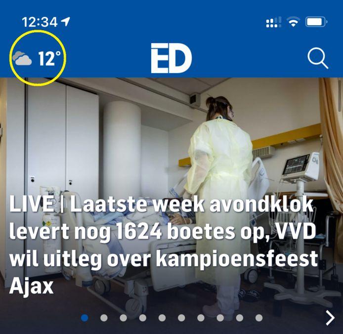 Linksboven in de ED-app vind je de knop voor het weerbericht.