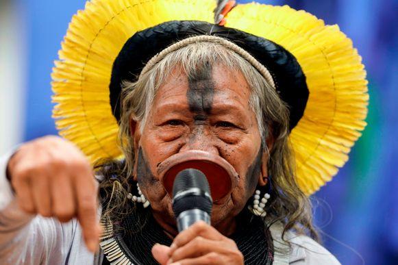 Voormalig opperhoofd van het Kayapo-volk Raoni Metuktire.