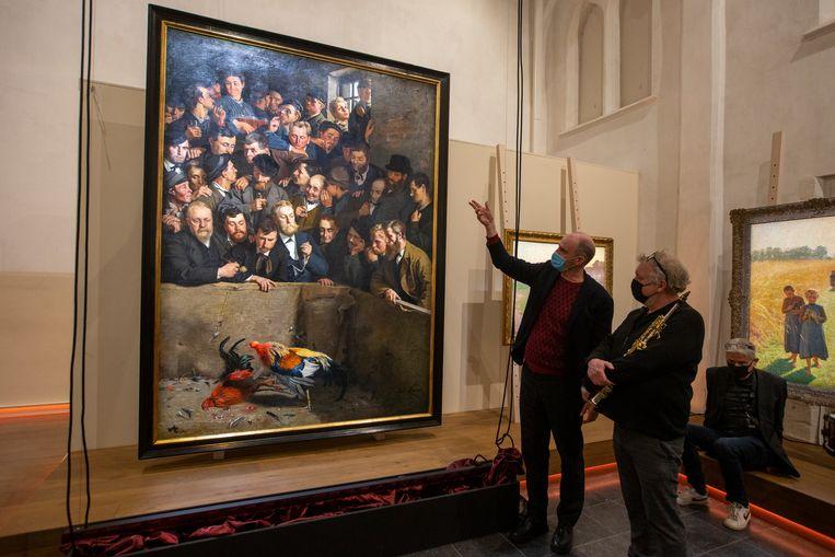 Hans Bourlon bij Emile Claus' 'Hanengevecht in Vlaanderen' uit 1882. Beeld BELGA