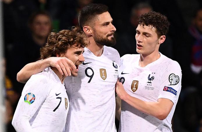 Antoine Griezmann, Olivier Giroud en Benjamin Pavard.