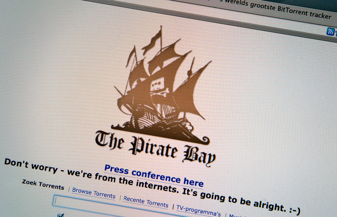 Screenshot van de website van The Pirate Bay.