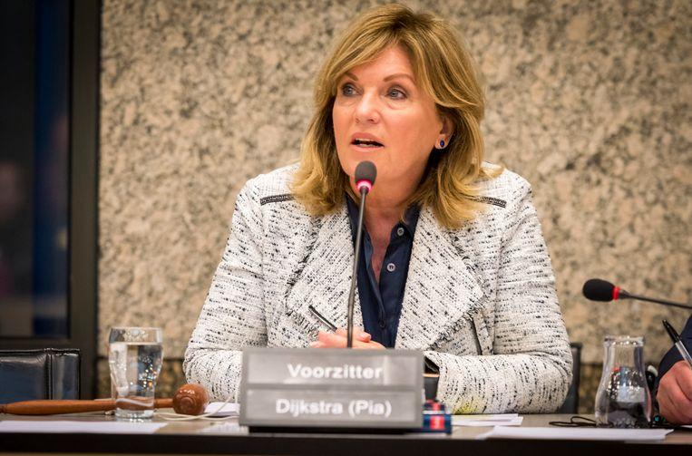 Pia Dijkstra van D66 tijdens een rondetafelgesprek in de Tweede Kamer over euthanasie. Beeld ANP