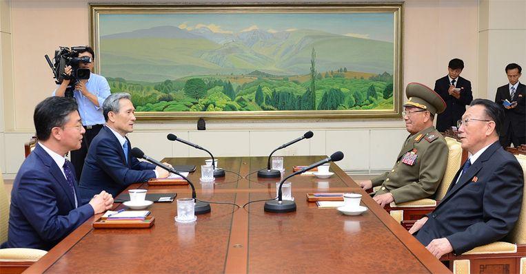 Overleg tussen Zuid-korea en Noord-Korea in Panmunjom. Beeld ap