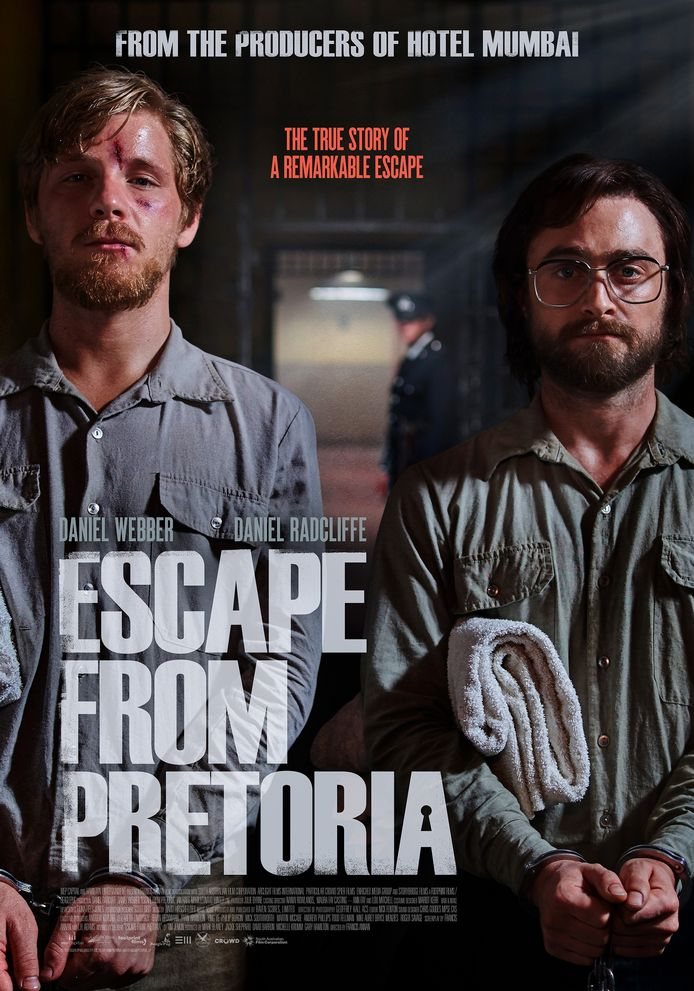 Filmposter Escape From Pretoria, met Daniel Radcliffe (re) in de hoofdrol.