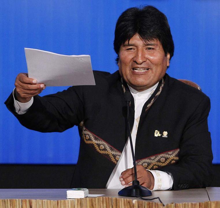 De Boliviaanse president Evo Morales is een voorstander van de nieuwe wet op kinderarbeid in zijn land. Beeld reuters