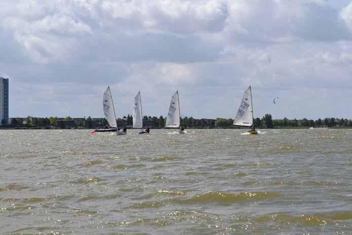 Aan Lager Wal, onderdeel van watersportvereniging De Schelde, begeleidt op de Binnenschelde kinderen die zeillessen krijgen vanuit volgboten met een buitenboordmotor.