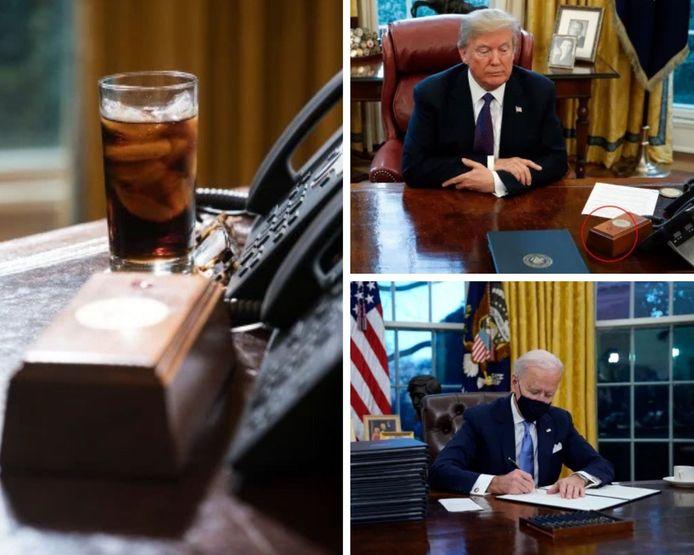 """Joe Biden a retiré le bouton """"Coca-Cola light"""" que Donald Trump avait installé sur le bureau ovale."""