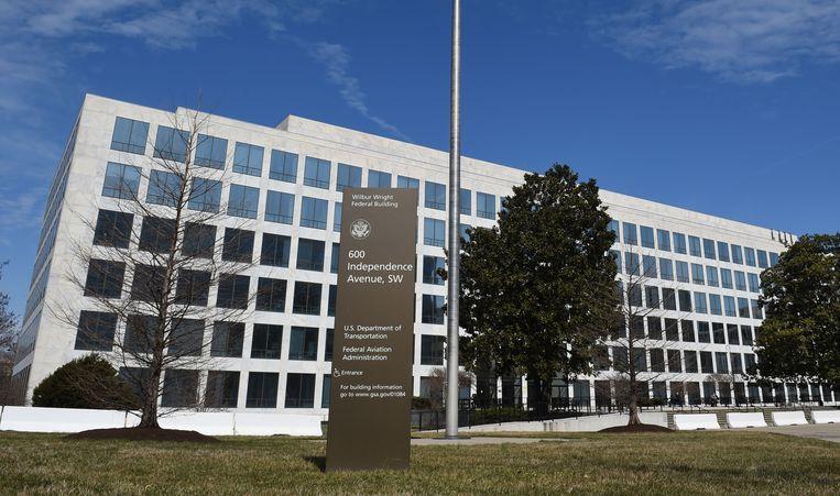 Het gebouw van de Federal Aviation Administration (FAA) in Washington. Beeld AFP