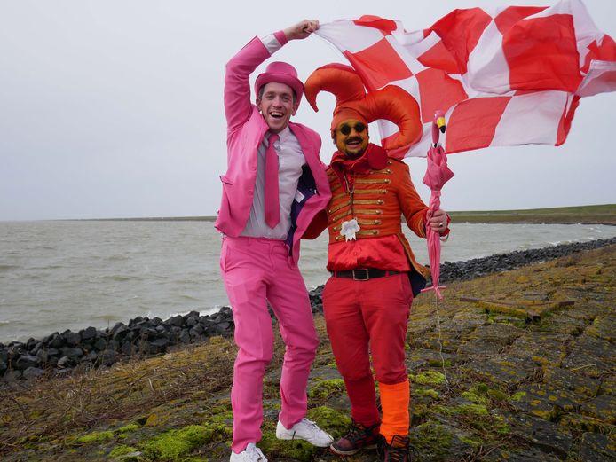 Freek Haverman en Yves de Morree op de Amsterdamse afsluitdijk