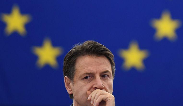 Premier Conte had een zware dag in Straatsburg. Beeld AFP
