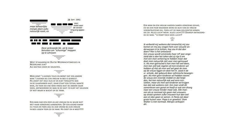 De ontbrekende teksten uitgeschreven Beeld Anne Frank Stichting