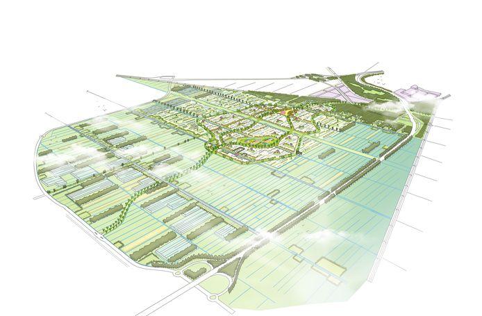Het Vijfde Dorp van Zuidplas in vogelvlucht. Het plan leidt nog niet tot een verbreding van de N219.