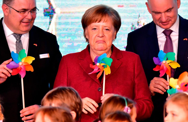 Bondskanselier Angela Merkel bij de opening van het Arkona windpark in Sassnitz.