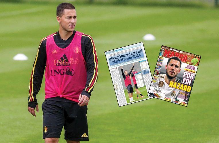 Hazard stoomt zich klaar voor de EK-kwalificatiematchen tegen Kazachstan (vanavond) en Schotland.