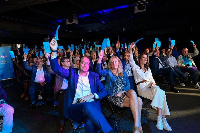 NAMUR, BELGIUM - SEPTEMBER 18 : MR Statutory Congress with speech of Georges-Louis Bouchez president Reformist Movement MR. Voting Pictured on SEPTEMBER 18, 2021 in Namur, Belgium, 18/09/2021 ( Photo by Philip Reynaers / Photonews