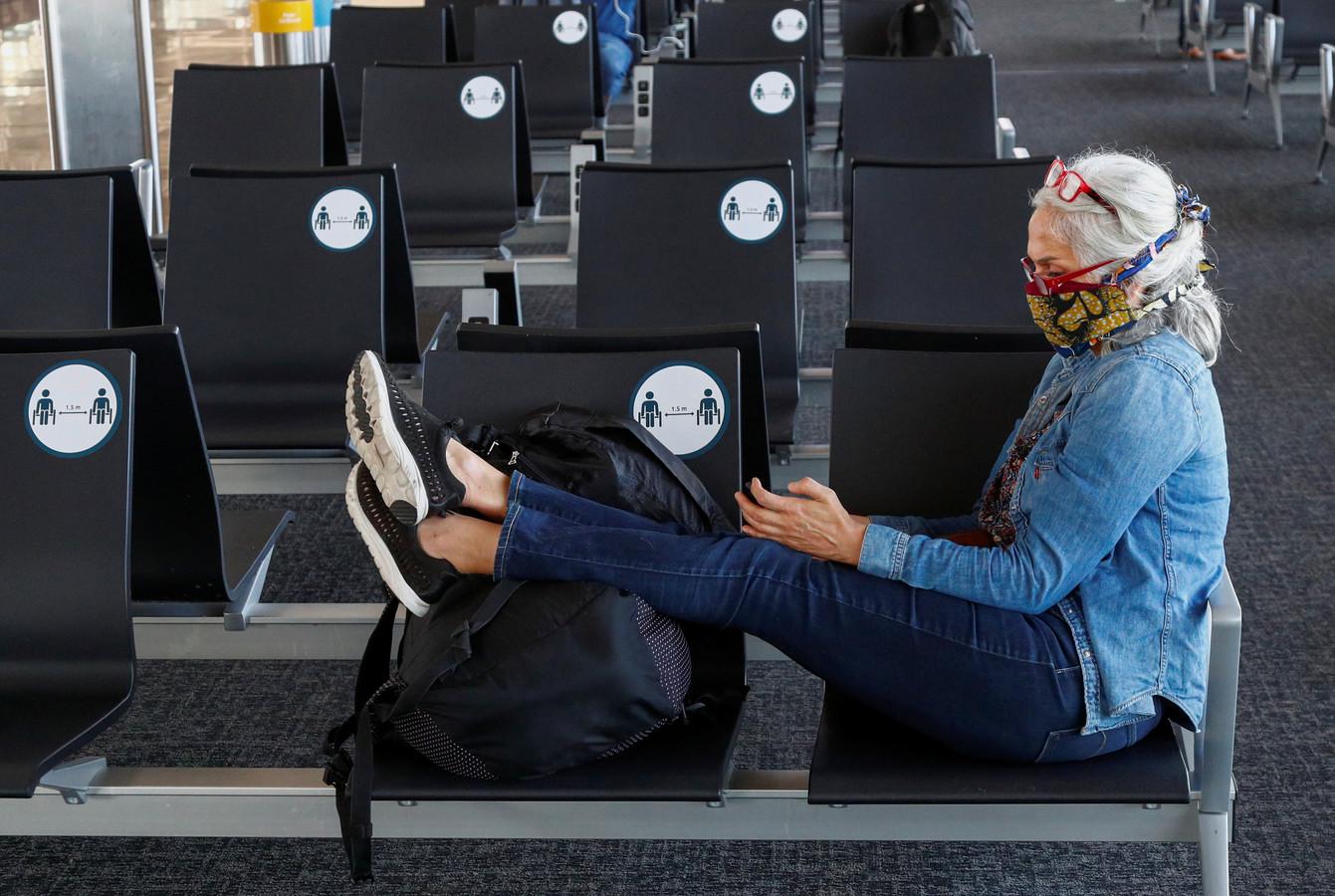 Passagère à l'aéroport de Zaventem, en 2020