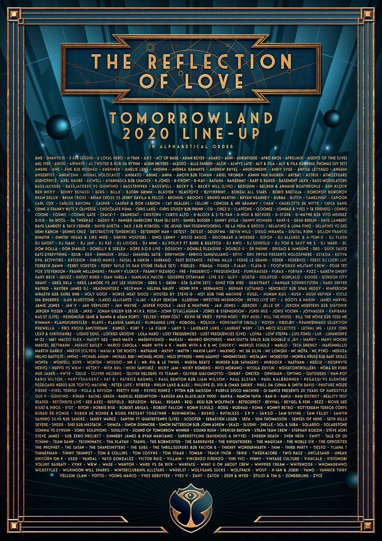 Line-up Tomorrowland 2020 Beeld RV