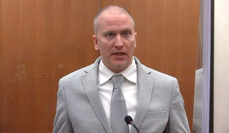 Derek Chauvin in de rechtszaal in Minneapolis. Beeld Reuters