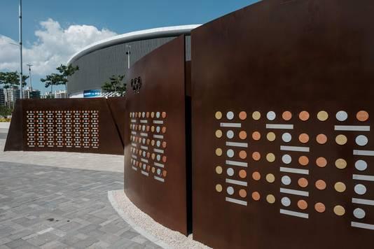 De Wall of Champions, met gouden, zilveren en bronzen medailles en hun winnaars.