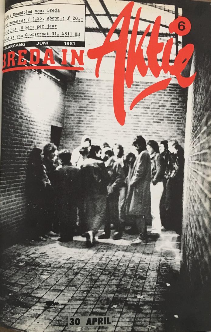 Krities Maandblad voor Breda 'Breda in Actie' met foto van de opgepakte actievoerders in de cel tijdens Koninginnedag 1981. Gemaakt door Marcel Rensen die zelf ook was opgepakt.