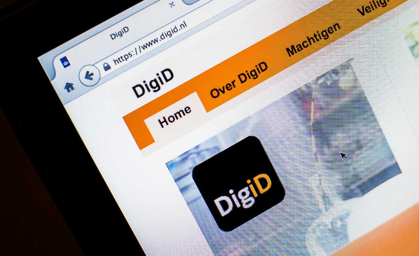 De website van DigiD. Ofwel je digitale identiteitsbewijs.