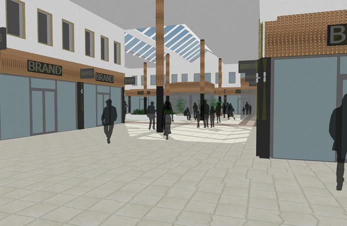 Een impressie van hoe winkelcentrum De Els in Waalwijk eruit komt te zien.