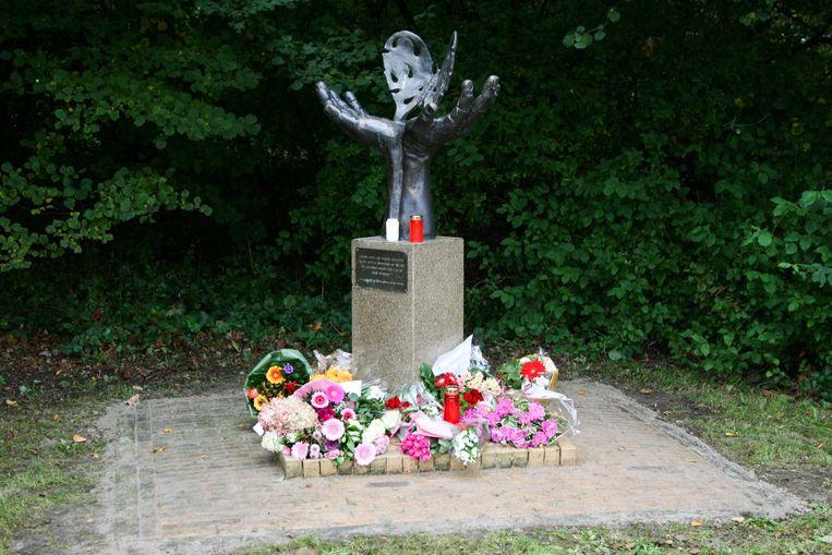 Bloemen bij het Vlindermonument aan het Kluunpad in Zeewolde. De gemeente Zeewolde heeft het monument aangewezen als gedenkplek voor Anne Faber. Beeld ANP