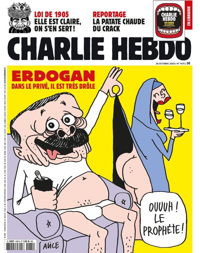 Erdogan op de nieuwste cover van Charlie Hebdo.