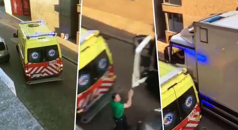 Opmerkelijk: een trucker is het wachten beu en zet de ambulance zelf aan de kant.