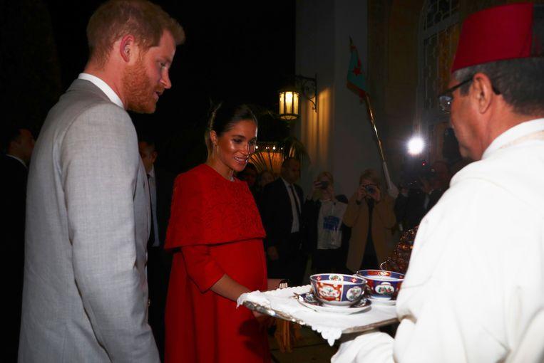 Aankomst van Harry en Meghan in het koninklijk paleis van Rabat in Marokko.