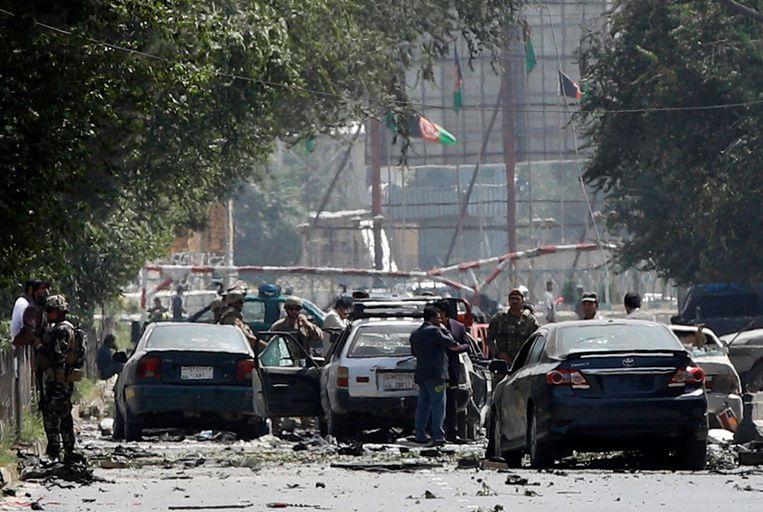 De plek van de aanslag in Kabul. Beeld EPA