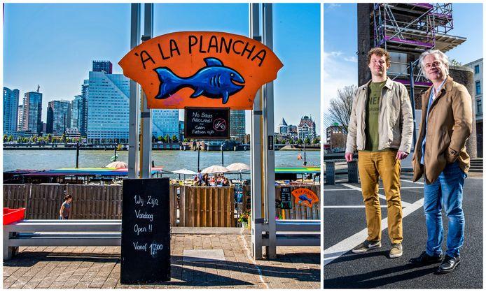 Het terras van A La Plancha, zoals het er straks in de zomermaanden weer uitziet met directeur Wietse Sennema (links) en oprichter Hans Mosselman.