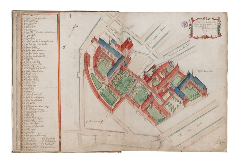 Topografische tekening van het Sint Pietersgasthuis,  door Balthasar Florisz van Berckenrode (1591-1645).    Beeld Beeldbank Stadsarchief