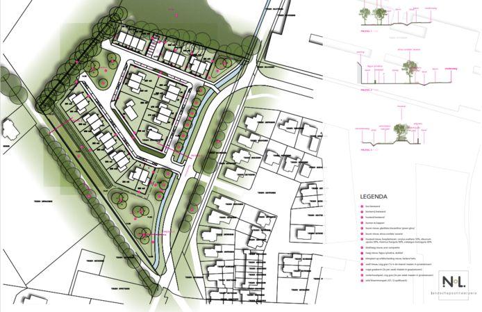 Groenplan en verkavelingsschets voor het plan Hutten 2 in Geesteren.