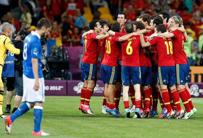 Spanje viert feest na de 4-0 zege in de EK-finale van 2012.