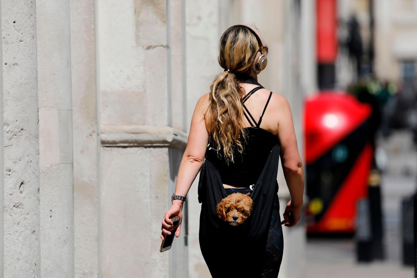 Een vrouw heeft haar pup in een draagzak gestopt.