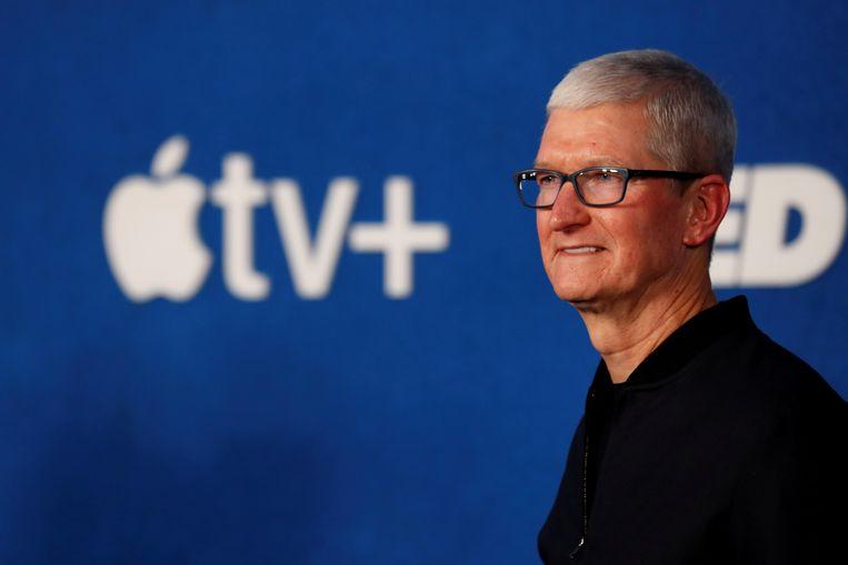 Apple-topman Tim Cook. Het Amerikaanse bedrijf stevent af op zijn meest winstgevende jaar ooit.  Beeld Reuters